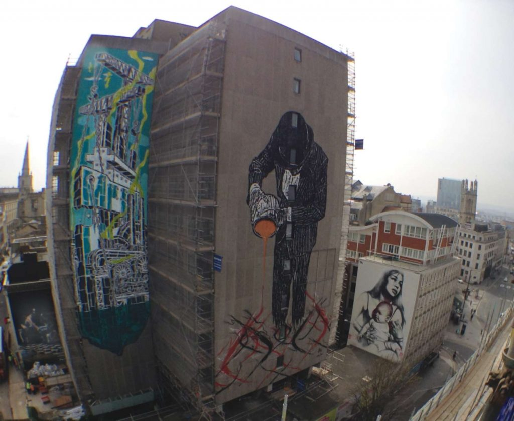 Aerial street art view Bristol