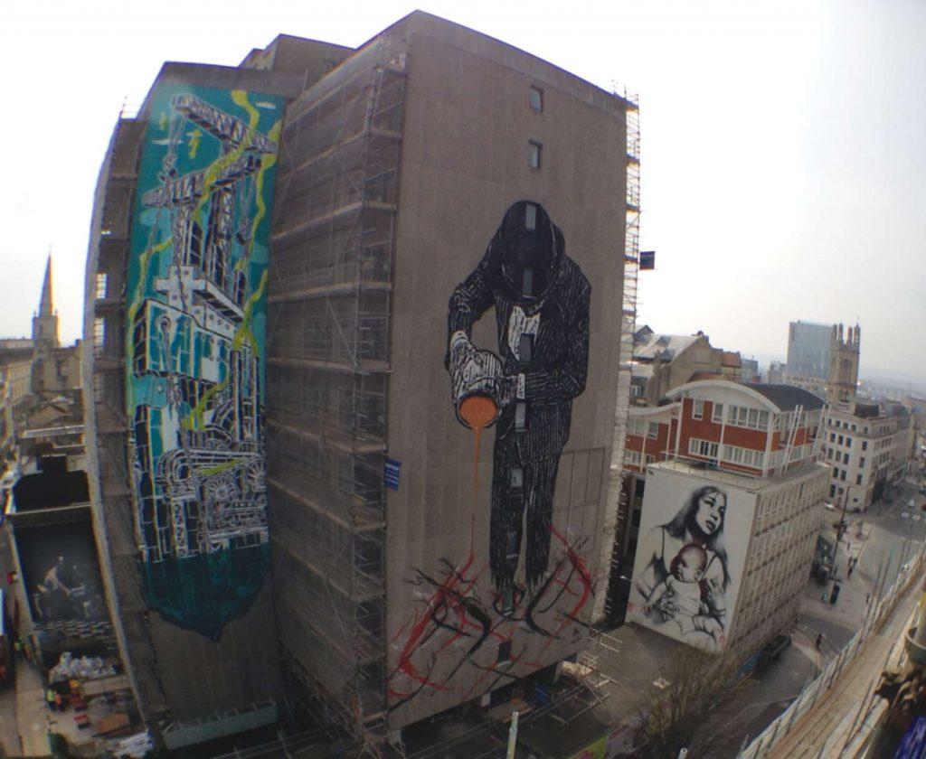 Aerial street art of Bristol central